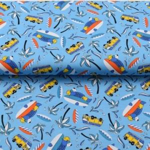 Baumwolljersey Druck -Surfing Schrift- Limited Edition by Evelyn Lisi Design Urlaubsfeeling imitierte Auflage Premium Collection - Handarbeit kaufen