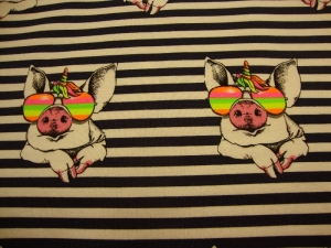 Baumwolljersey cooles Einhorn Schweinchen gestreift marine mit Brille neon  - Handarbeit kaufen