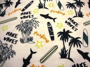 Baumwolljersey Urlaubsfeeling Sommerinsel Surfing Palmeninsel Súrfbrett Haie Insel mit Palmen auf weiss limitierte Auflage Premium Collection maritim - Handarbeit kaufen