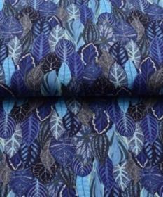 Baumwoll Jersey Druck Herbstzeit Blätter - Wald Limited Edition, Blätter blau braun - Handarbeit kaufen