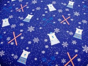 French Terry Sweat Eisbären, Schneeflocken, Schiern blau, French Terry Kinder Mädels Jungs - Handarbeit kaufen
