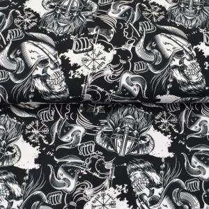 French Terry Sweatdruck Sommersweat-Viking Skull-schwarz weiss Totenköpfe limited Edition Jungs Männerstoff made EU
