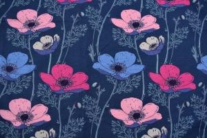 French Terry Druck Sommersweat – Big Flowers – KATINOH rosa pink hellblau auf blau weiss Limited Edition Blumen auf blau Mädchen und Frauen  - Handarbeit kaufen