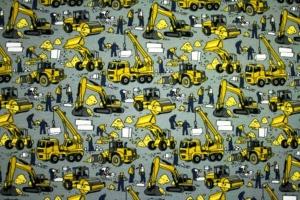 Sweat French Terry Baumwollstoff Druck- Bauarbeiter auf der Baustelle limitierte Auflage für Jungs Männer - Handarbeit kaufen