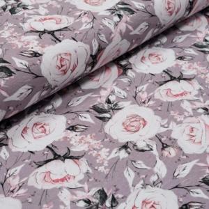 French Terry Sommersweat – Love – KATINOH zartrosa rosa auf taupe Limited Edition Blumen auf blau Mädchen und Frauen Rosenblüte Blumen, Muster, Rosen - Handarbeit kaufen