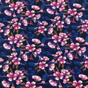 Sweat French Terry Druck - keep calm and love life– KATINOH weiße rose Blumenblüte marine Kinderstoffe Mädels Frauen EU - Handarbeit kaufen