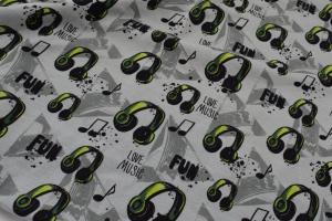 Baumwolljersey Druck – Premium Collection hellgrün schwarze grau Köpfhörer Musiknoten auf hellgrau limitierte Auflage für Jungs und Männer - Handarbeit kaufen
