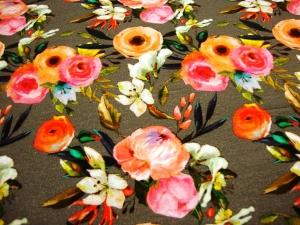 Sweat French Terry Druck bunte Blumen dunkelgrau Flower limitierte Auflage Premium Collection pastell Blumen French Terry Aquarell Blume auf dukelgrau - Handarbeit kaufen