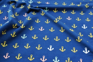 Sweat French Terry Druck Gold & Color Anchor – Premium Collection maritim weiße goldene rose hellgrüne Anker auf blau Kindestoffe Jungs Männer - Handarbeit kaufen