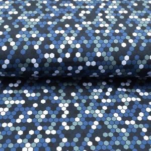 Sweat French Terry Druck – Hexagon- Premium Collection bunte Würfel auf schwarz Kinderstoffe Jungs Männer - Handarbeit kaufen