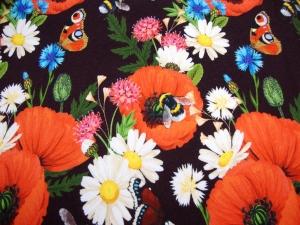 Mohnblumentraum - Sweat Bienen Hummeln Schmetterlinge Blumen Mädchen Junge Baby Kind Stoff Kinderstoff kuschel Sweat Margeritten & Co.  - Handarbeit kaufen