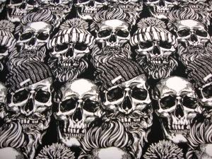 French Terry Sweatdruck Totenkopf mit Hipster Caps Mütze Schädel und Mützen Skull Totenköpfe Skulis weiß grau schwarz auf weiß für Stoffmasken Frauen Männer Jungs Jugendliche - Handarbeit kaufen