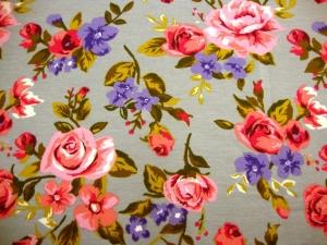 French Terry Sweat Digitaldruck Blumen rosa Rosen lila Blumen auf grau French Terry rosa Rosen, grün lila grau  - Handarbeit kaufen
