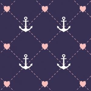Baumwolldruck Anker-Herz maritim weiße Anker rosa Herz auf blau für Stoffmasken für Jungs-Mädchen- Frauen und Männer – Limited Edition – - Handarbeit kaufen