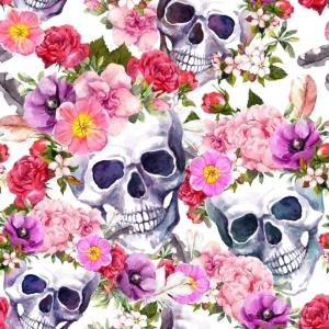 Baumwolldruck Totenkopf und Blumen Skulls Totenköpfe Skulis rosa rot lila grau schwarz auf weiß für Stoffmasken für Mädels und Frauen - Handarbeit kaufen
