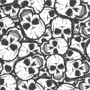 Baumwolldruck Totenköpfe Skulis Schädel weiß grau schwarz für Stoffmasken für Jungs und Männer - Handarbeit kaufen