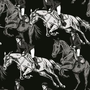 Baumwolldruck Reiterin und Pferd weiß grau schwarz für Stoffmasken für Jungs-Mädchen- Frauen und Männer  - Handarbeit kaufen