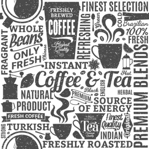 Baumwolldruck Tea & Coffee weiß schwarz für Stoffmasken für Jungs-Mädchen- Frauen und Männer  - Handarbeit kaufen