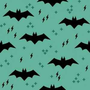 Baumwolldruck Bats schwarz auf graugrün Fledermaus für Stoffmasken für Jungs-Mädchen- Frauen und Männer  - Handarbeit kaufen
