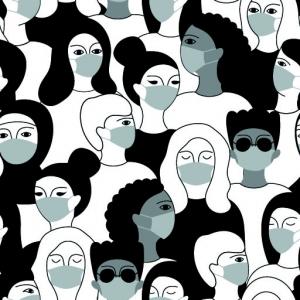 Baumwolldruck Maskenpflicht weiß grau schwarz für Stoffmasken für Jungs-Mädchen- Frauen und Männer  - Handarbeit kaufen