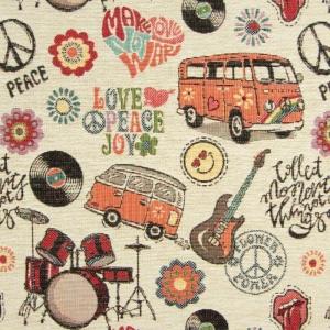 Gobelin Stoff Hippy-Party Dekoration Vorhänge Kissen Taschen Bullis Schlagzeug Gitarre Blumenblüte Peace made in EU