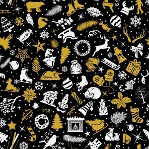 Weihnachststoff Baumwolldruck - Xmas- gold black & white Weihnchtsmotive Tannenbaum Sterne Lebkuchen Schlitten Geschenke Renntiere Glocken auf schwarz auch für Stoffmasken Weihnach - Handarbeit kaufen
