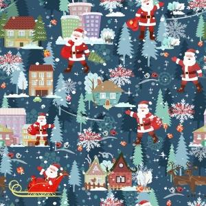 Weihnachststoff Baumwolldruck - Xmas- Weihnachtsmann mit Schlitten auf jeansblau auch für Stoffmasken Weihnachtsstoff made in EU