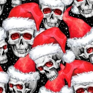 Weihnachststoff Baumwolldruck Xmas Totenkopf mit Nikolausmütze Skulls Totenköpfe Skulis rot weiß auf schwarz auch für Stoffmasken Mütze Weihnachtsstoff made in EU - Handarbeit kaufen