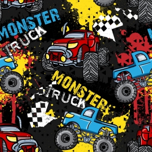 Baumwolldruck Monstertruck weiß senfgelb rot petrol auf schwarz Monstertruck für Stoffmasken für Jungs und Männer  - Handarbeit kaufen