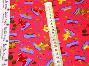 Baumwollstoffe Regenstiefel von tante ema in rosa Pfützen Herbstmotive  - Handarbeit kaufen
