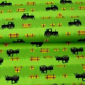 Baumwolljersey - Jersey Stoff Green Power-Trecker mit Strohballen– KATINOH - Traktor und Stroh Feld limitierte Auflage Katinoch für Jungs - Handarbeit kaufen