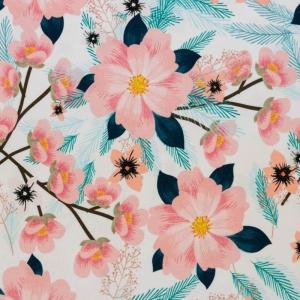 Baumwolljersey Stoffe -Enjoy every moment- KATINOH limitierte Auflage Frühlingsstoffe Blumen apricot  blau weiß made EU - Handarbeit kaufen