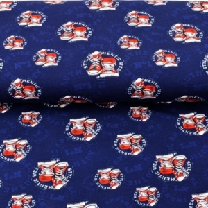 Sweat French Terry Druck–Keep calm and wear sneaker– KATINOH-Limited Edition – Premium Collection – rote weisse Turnschuhe auf blau Kinderstoffe Jungs Männer - Handarbeit kaufen