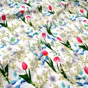 0,70m Baumwolljersey Stoffe -Frühlingsgefühle- KATINOH limitierte Auflage Frühlingsstoffe Tulpen Bätter Knospen Blumen weiß rot rose made EU