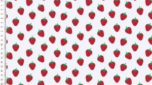 Baumwollstoff Popeline Erdbeeren – weiss - rote Erdbeeren auf weiß 1,50m Breite Frühlings Stoffe - Handarbeit kaufen