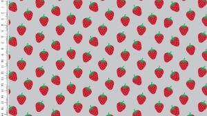 Baumwollstoff Popeline Erdbeeren – grau - rote Erdbeeren auf grau 1,50m Breite Frühlings Stoffe