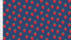 Baumwollstoff Popeline Erdbeeren – blau - rote Erdbeeren auf blau 1,50m Breite Frühlings Stoffe  - Handarbeit kaufen