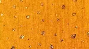 Musselin Stoff Double Gauze Flake Drops senfgelb Foliendruck Blusenstoff Spucktuch Kleiderstoff  - Handarbeit kaufen