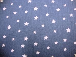 Musselin Stoff Baumwolle Musselin Double Gauze weisse Sterne jeansbblau weiß Blusenstoff Spucktuch Kleiderstoff   - Handarbeit kaufen