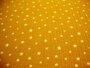 Musselin Stoff Baumwolle Musselin Double Gauze weisse Sterne senfgelb weiß Blusenstoff Spucktuch Kleiderstoff   - Handarbeit kaufen