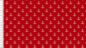 Baumwollstoff Popeline weiße Anker auf rot maritim 1,50m Breite Frühlings Stoffe - Handarbeit kaufen