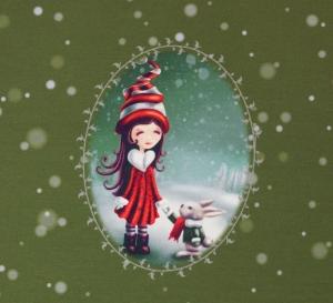 French Terry Panel Mädchen mit Hase auf moosgrün 1,04mx1,50m Panelstoff GlünzDigitalprint Sommersweat Stoffe Weihnachten - Handarbeit kaufen