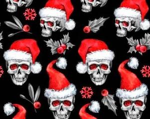 Weihnachststoffe French Terry Sweat Totenkopf mit Nikolausmütze Skulls Weihnachtstotenköpfe Totenköpfe rot weiß schwarz - Handarbeit kaufen