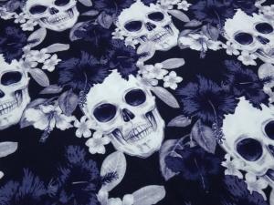 Baumwoll Jersey mit Totenköpfe Blumen Skulls marine blau grau weiß Kleiderstoff Skulls-Jersey made Eu - Handarbeit kaufen