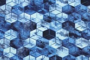 French Terry-Deluxe-Geometrie Sweat Batik blautöne Cooles Batik–Design, kombiniert mit Rautenmustern.Männer Jungs  - Handarbeit kaufen