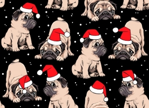 Weihnachststoffe French Terry Sweat Mops mit Nikolausmütze Weihnachtsmops rot weiß beige schwarz - Handarbeit kaufen
