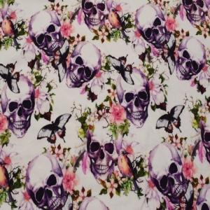 Jersey Stoffe Flower Skulls Premium Collection Totenköpfe Blumen Schmetterling weiß grün lila schwarz HelloweenJersey Eu - Handarbeit kaufen