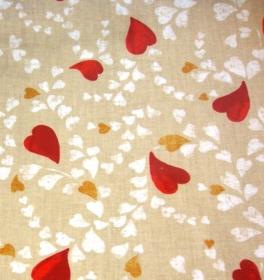 beschichtete Baumwolle rote goldene weiße Herzen auf beige Glünz Utensilo Fahradtasche Geschenkeverpackung Wachstuch - Handarbeit kaufen
