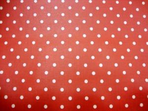 beschichtete Baumwolle weisse Punkte auf rot von Glünz Utensilo Fahradtasche Geschenkeverpackung Wachstuch Kosmetiktasch - Handarbeit kaufen