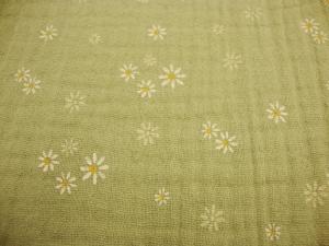 Baumwolle Double Gauze Musselin lindgrün oldgreen Sweet Flowers schöne Margariten Blüte geblümt Blusenstoff Spucktuch Kleiderstoff   - Handarbeit kaufen